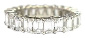 Fine,Emerald,Cut,Diamond,Shared,Prong,Eternity,Band,Ring,White,Gold,5.75ct,Sz8