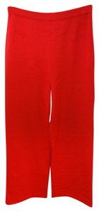 St. John Red Knit Straight Pants