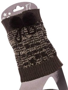 Boot Toppers With Pom Poms - Brown - New