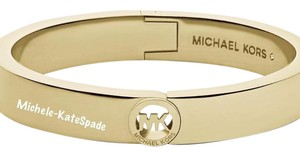Michael Kors NWT MICHAEL KORS GOLD TONE MK LOGO FULTON HINGED BANGLE MKJ3249710