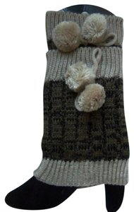 Boot Toppers With Pom Poms - Khaki & Brown - New