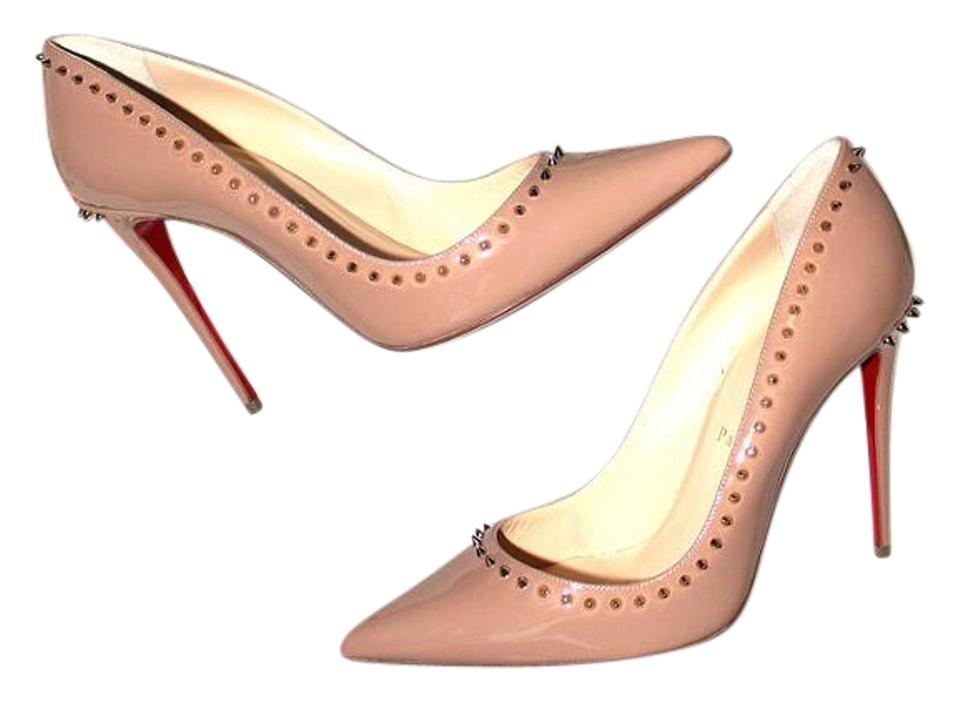 official photos 8e9e4 65041 Christian Louboutin Nude Anjalina 100 Light Gold Spiked Patent Leather  Pumps Size US 8