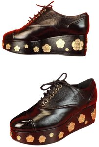 Chanel Flower Floral Gold G31722 Italy Black Wedges