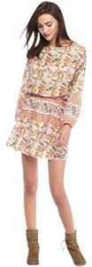 Free People short dress Ivory Coral Orange Blouson Floral Mosaic on Tradesy