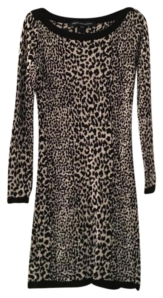 9ccf6f65cca French Connection Black and White Leopard Print Sweater Short Casual Dress