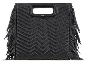 Maje Quilting Fringe Leather Cross Body Bag