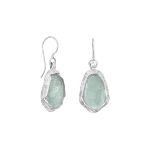Brand New Discounted Price New Polished Pear Ancient Roman Glass Drop Earrings