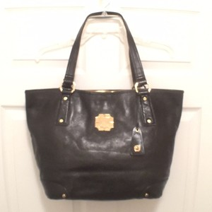 MONET Faux Leather Satchel Handbag Leather Tote in Black Gold