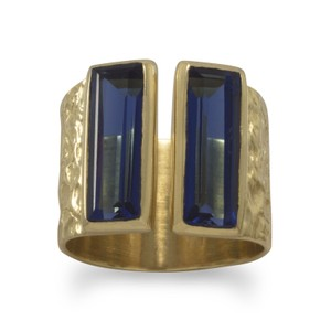 Brand New .925 Sterling Silver Ring (available sizes 6-10) New Textured 14 Karat Gold Plated Blue Glass Ring