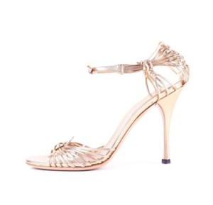 Gucci Leather Strappy Gold Sandals