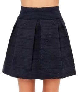 Honey Punch Pleated A-line Textured Mini Skirt Black
