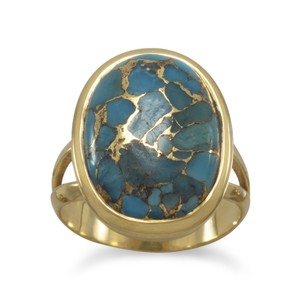 Brand New .925 Sterling Silver Ring (available sizes 6-10) New 14 Karat Gold Plated Stabilized Turquoise Ring