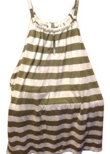 New York & Company And Like Halter And White with Olive Green stripes Halter Top