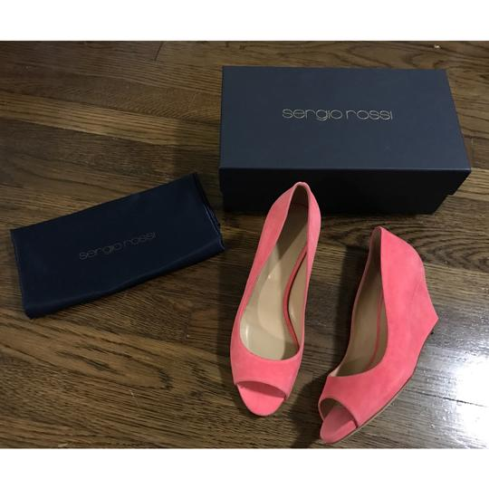 Sergio Rossi Coral Pink Wedges Image 1