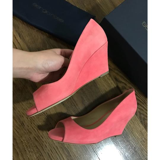 Sergio Rossi Coral Pink Wedges Image 2