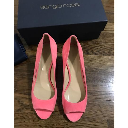 Sergio Rossi Coral Pink Wedges Image 3