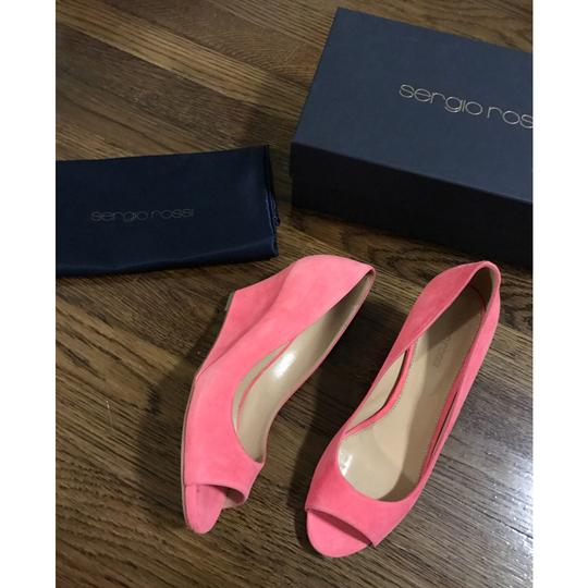 Sergio Rossi Coral Pink Wedges Image 7
