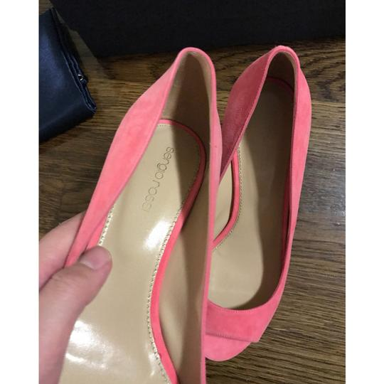 Sergio Rossi Coral Pink Wedges Image 8