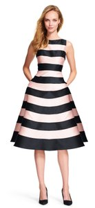 Adrianna Papell Striped Midi Mikado V-back Dress