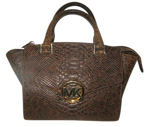 Michael Kors Satchel in Brown Python Embossed