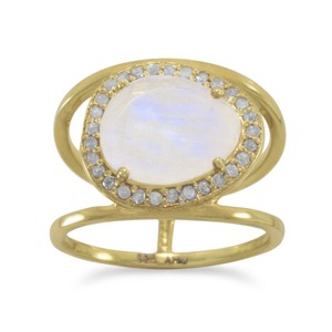 Price Drop Brand New .925 Sterling Silver Ring (available sizes 6-10) New 14 Karat Gold Plated Ring with Rainbow Moonstone and Gray Diamonds