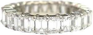 Fine,Emerald,Cut,Diamond,Shared,Prong,Eternity,Band,Ring,White,Gold,5.25ct,Sz6