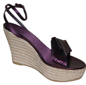 Burberry Prorsum Python Sandals Purple Wedges