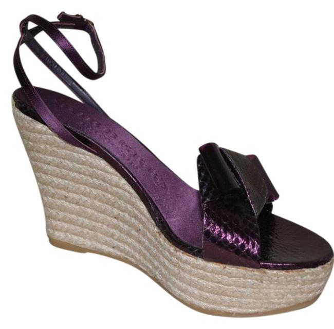 Item - Purple Snakeskin Python Leather Sandals Eu 40 Wedges Size US 10 Regular (M, B)