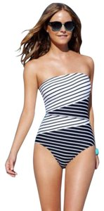Anne Cole ANNE COLE BLACK AND WHITE STRIPED BANDEAU ONE PIECE SWIMSUIT 8