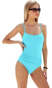 Anne Cole ANNE COLE TURQUOISE RUCHED CLASSIC LINGERIE ONE PIECE SWIMSUIT 8