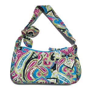 Vera Bradley Silk Paisley Turquoise Fuchsia Limited Edition Shoulder Bag