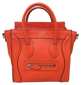 Céline Tote Shoulder Calfskin Satchel in red