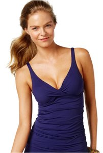 Anne Cole ANNE COLE NAVY BLUE RUCHED TANKINI SWIMSUIT SET 36B/C TOP L BOTTOM
