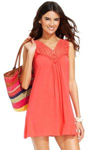 Kenneth Cole Reaction KENNETH COLE CORAL CROCHET NECKLINE SWIMSUIT COVER UP S