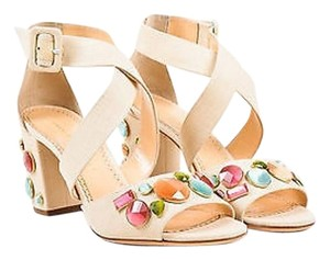 Charlotte Olympia Linen Jeweled Blanche Heels Beige Sandals