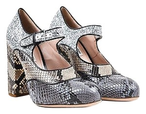 Miu Miu Blue Cream Silver Snakeskin Glitter Mary Jane Heels Multi-Color Pumps