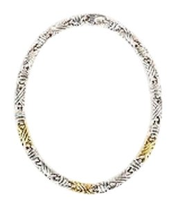 Sterling Silver 18k Yellow Gold Textured Bar Link Short Necklace