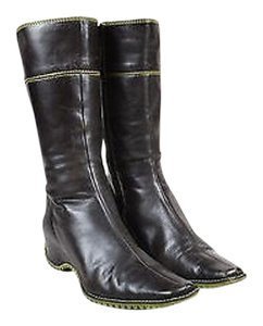 Pons Quintana Green Leather Wedge Heel Calf High Brown Boots