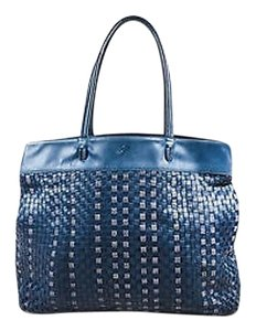 Bottega Veneta Vintage Navy White Leather Intrecciato Woven Tote in Blue