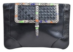 Bottega Veneta Multicolor Leather Snake Trim Black Clutch
