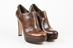Miu Miu Leather Stacked Brown Boots