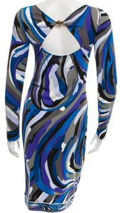 Emilio Pucci Silk Longsleeve Round Neck Silver Hardware Dress