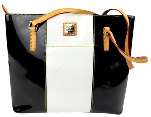 Dooney & Bourke Patent Leather Tote in White, Black