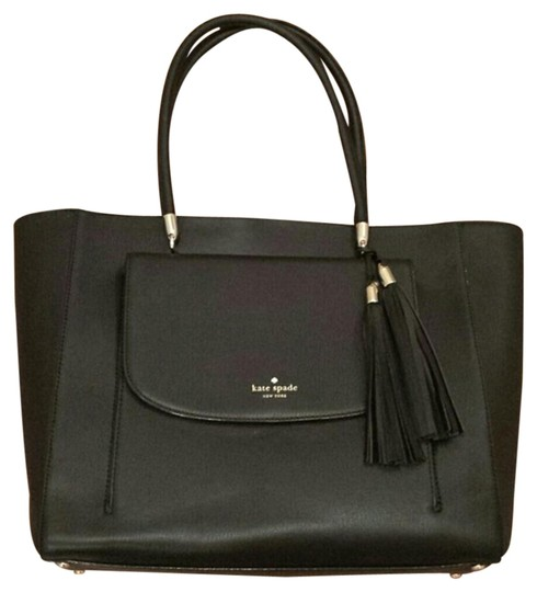 Preload https://item4.tradesy.com/images/kate-spade-black-leather-tote-19795913-0-1.jpg?width=440&height=440