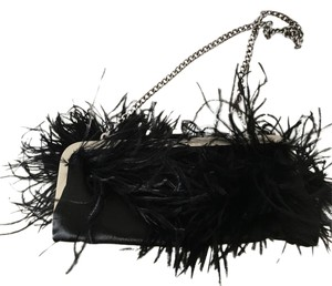 BCBGMAXAZRIA Feather And Red Jewel Black Clutch