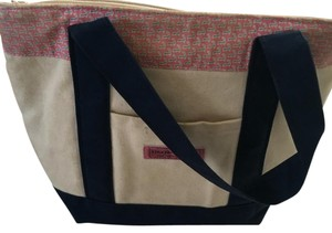 Vineyard Vines Tote in Cream With Pink