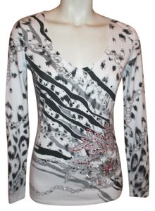Cache Studded Long Sleeve T Shirt white, black, grey & pink
