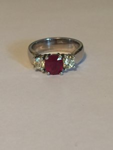 Platinum Ruby Light Fancy Yellow Diamond Engagement Ring