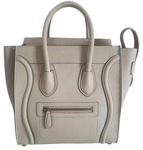 Cline Celine Luggage Leather Satchel in Off White