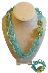 Other Link Frog Necklace and Bracelet Set